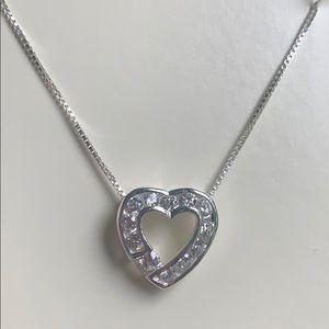 Sterling 18 in box link Cubic zirconia heart